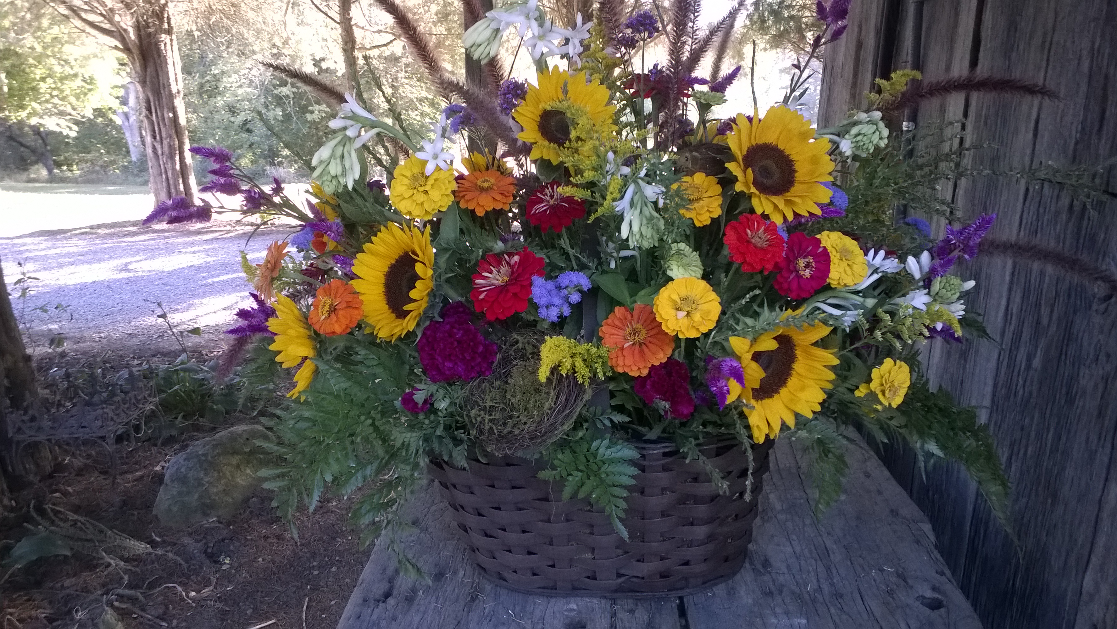 Large basket of fresh late harvest flowers 10-1-2017